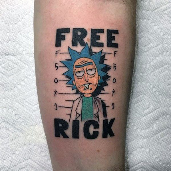 Forearm Jail Free Rick And Morty Tattoos For Males