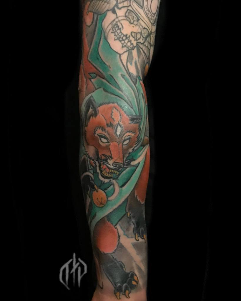 forearm japanese wolf tattoo dylontattoos