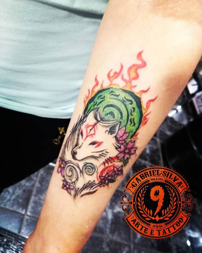 forearm japanese wolf tattoo gabrielsilvatattoo