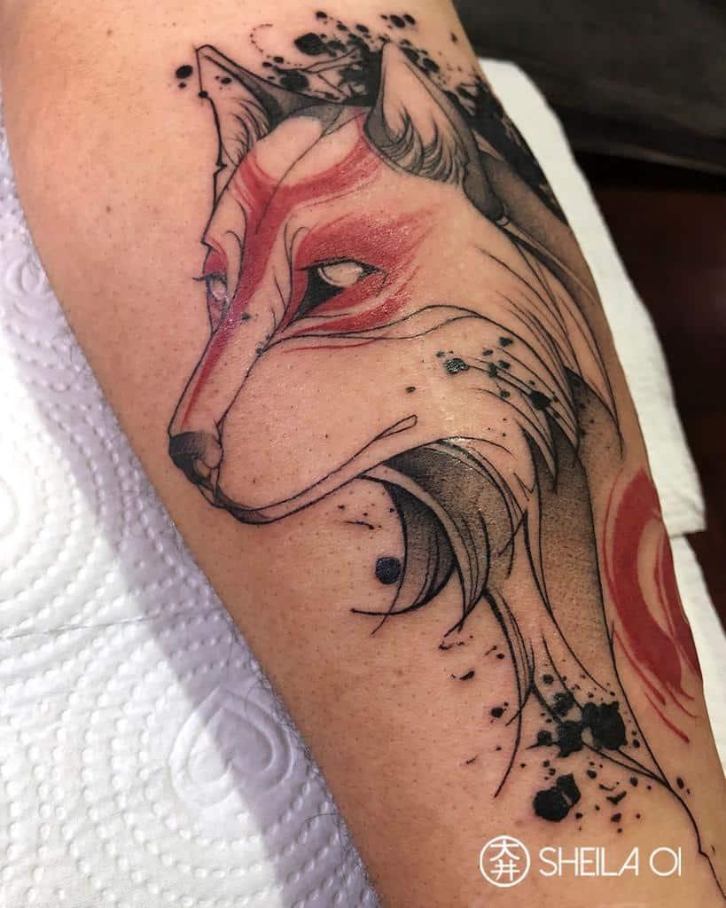forearm japanese wolf tattoo sheila_oi