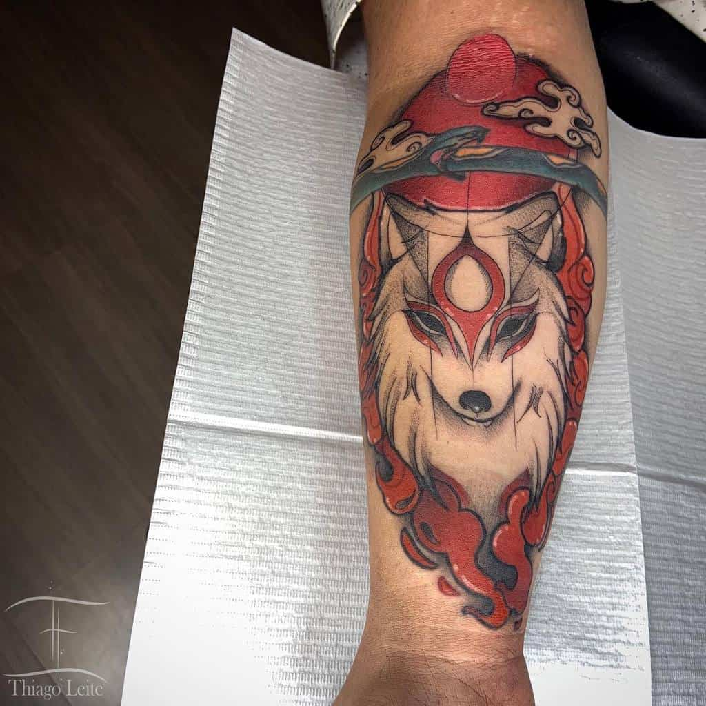 forearm japanese wolf tattoo thiagotattx