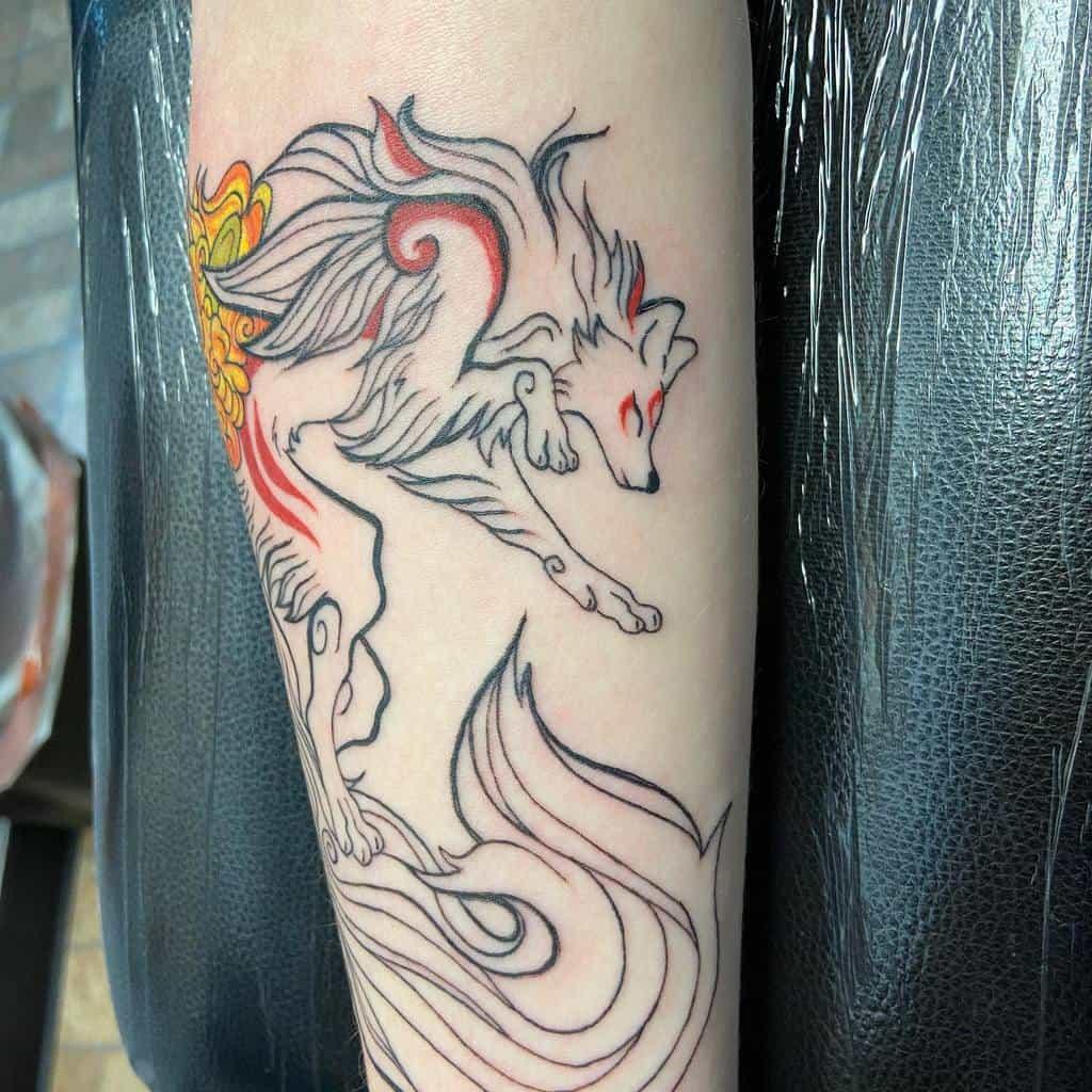 forearm japanese wolf tattoo twisted_nyx