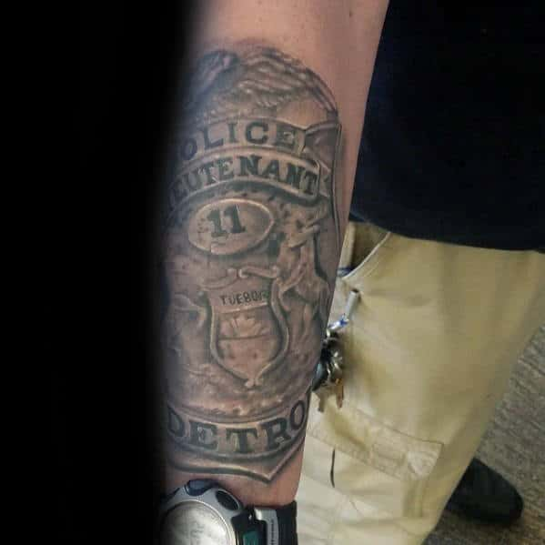 Forearm Large Mens Detriot Police Lieutenant Badge Tattoos
