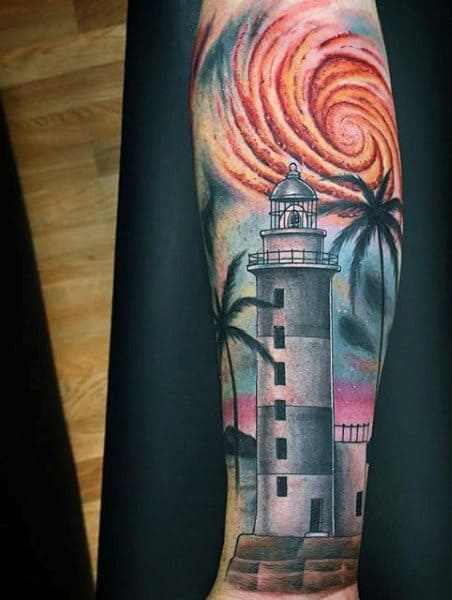 Forearm Lighthouse Sunset Beach Tattoo On Gentlemen