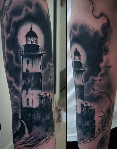 Forearm Lighthouse Tattoo For Guys