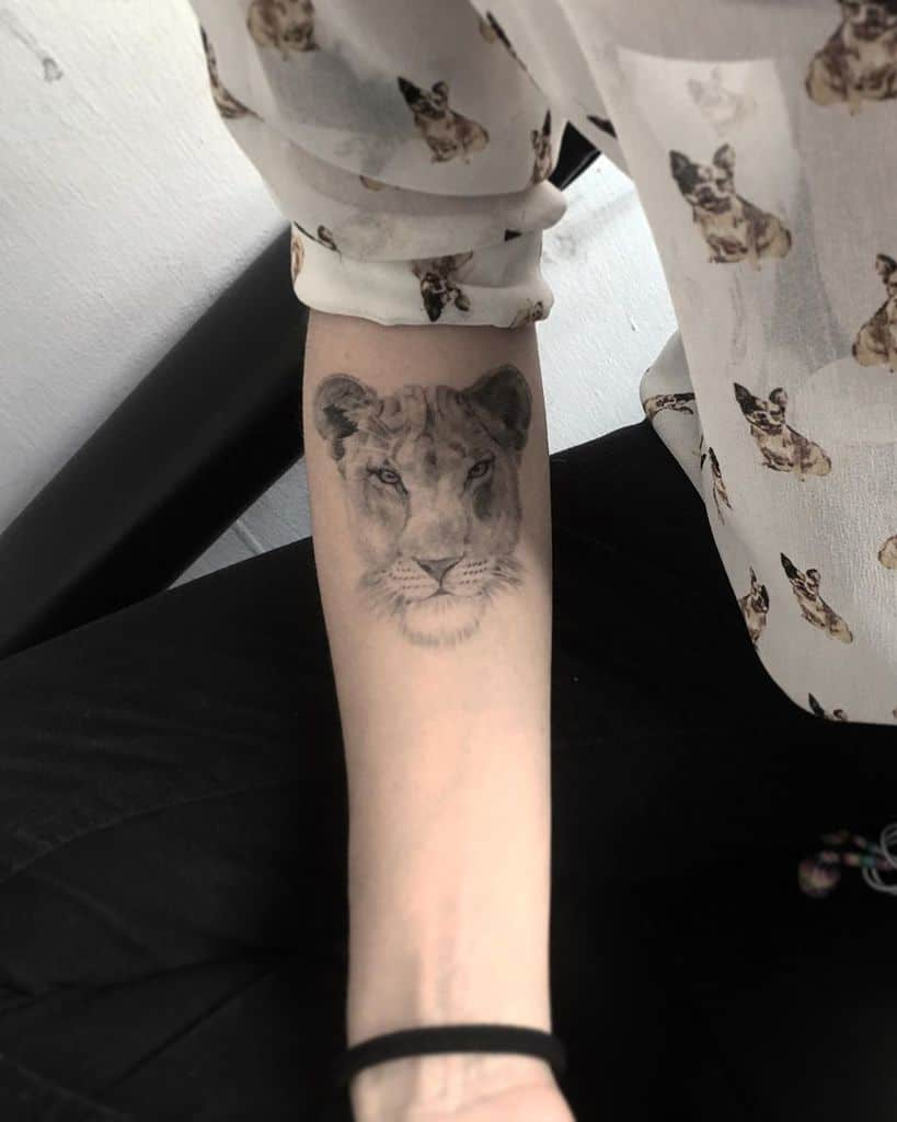 Forearm Lioness Tattoo
