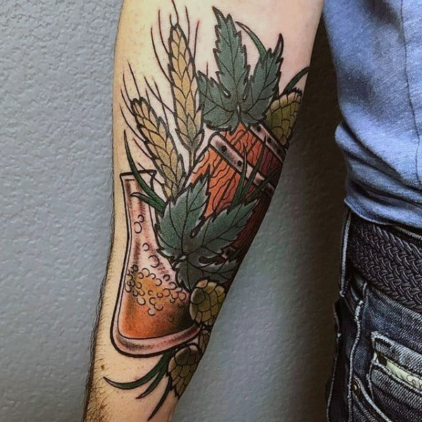 Forearm Male Beer Tattoo Design Inspiration