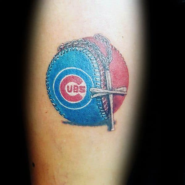 Forearm Male Chicago Cubs Baseball With Cross Necklace Tattoo Ideas