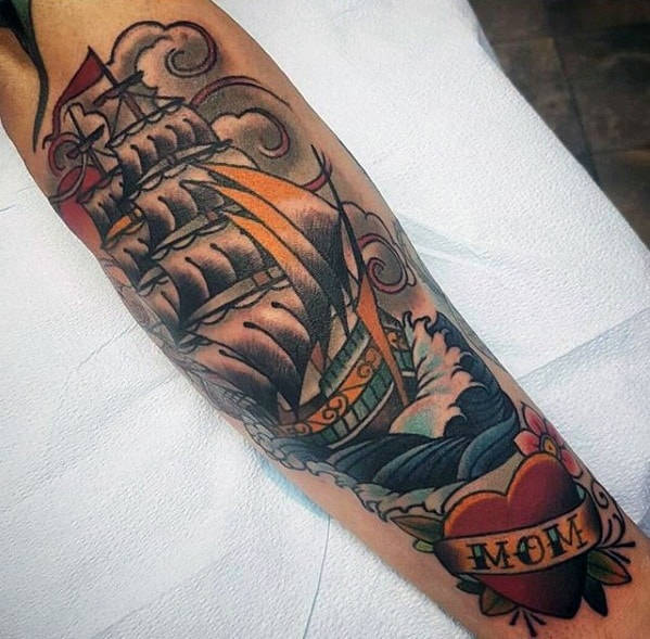 Forearm Male Cool Traditional Sailing Ship Heart Mom Tattoo Ideas