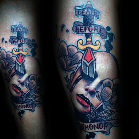 Forearm Male Death Before Dishonor Dagger Neo Traditional Tattoo