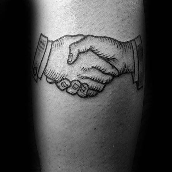 Forearm Male Handshake Tattoo Ideas