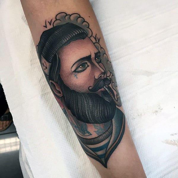 Forearm Male Happy Sailor Tattoo