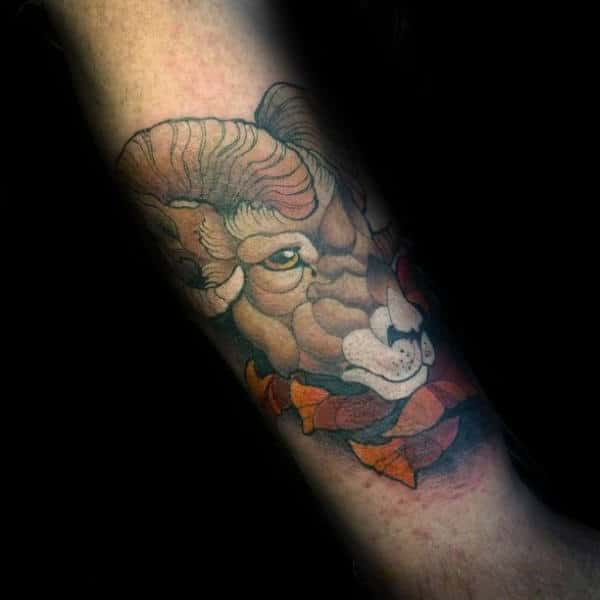 Forearm Male Ram Neo Traditional Design For Tattoos