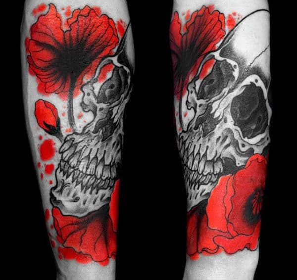 Forearm Male Tattoo Poppy Flowers In Red Ink With Shaded Black Skull