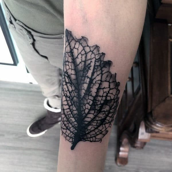 Forearm Male Tattoos Of Leaves