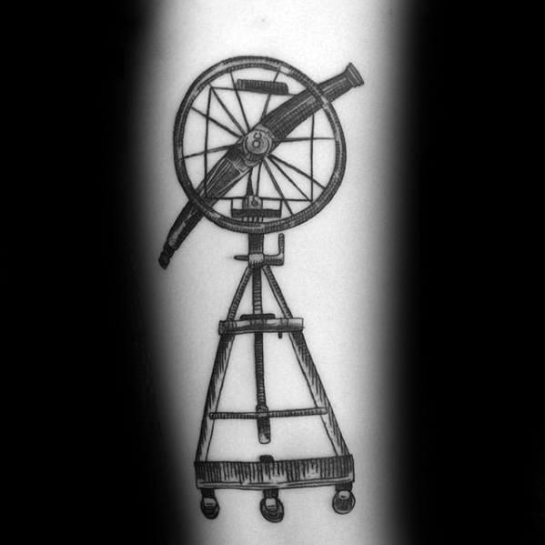 Forearm Male Telescope Tattoo Design Inspiration