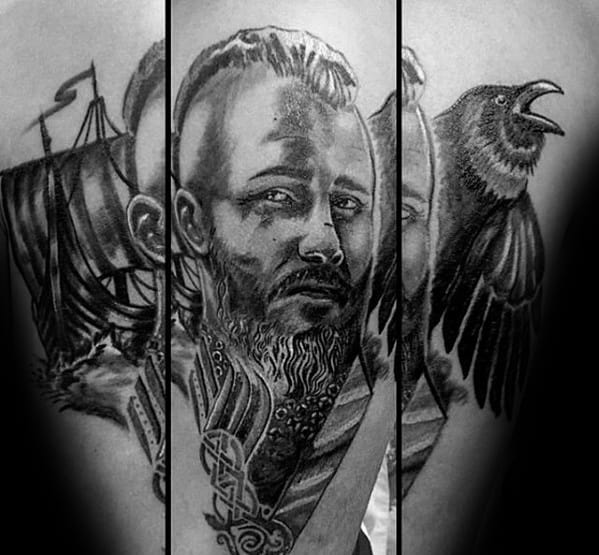 Forearm Male With Cool Ragnar Tattoo Design
