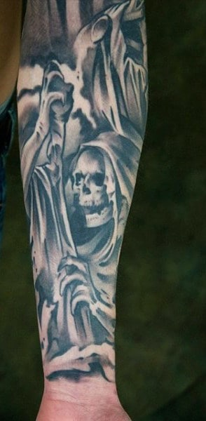 Forearm Man Skeleton Head Tattoos