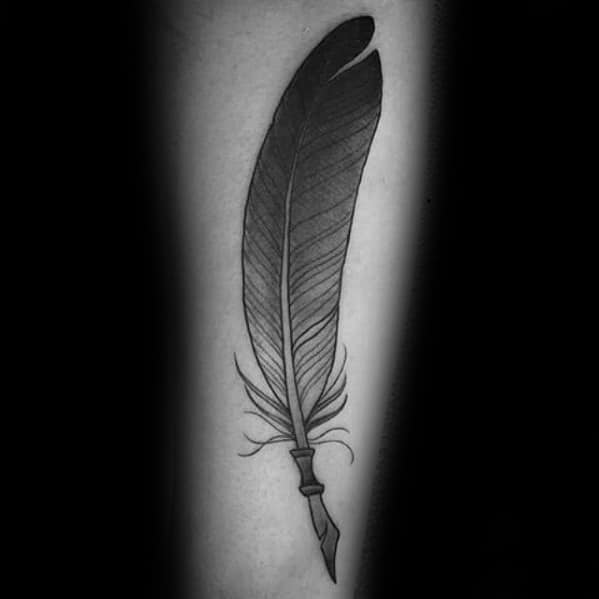 Forearm Manly Feather Quill Tattoo Design Ideas For Men