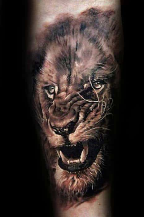 Forearm Masculine Guys Realistic Lion Tattoo Ideas