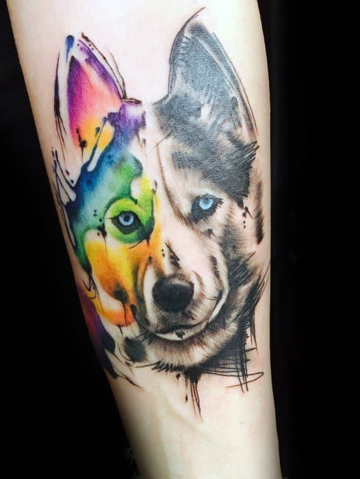 forearm-masculine-wolf-watercolor-tattoos-for-men