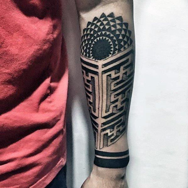 Forearm Maze Tattoo Design On Man