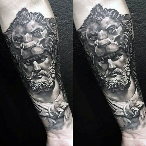 Forearm Mens Cool Roman Statue Tattoo Design Inspiration