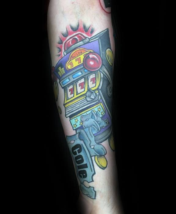 Forearm Mens Cool Slot Machine Tattoo Ideas