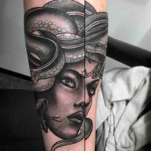 Forearm Mens Medusa Tattoos