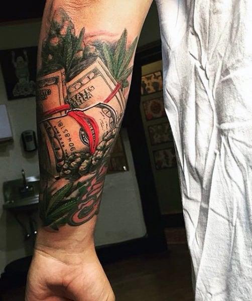 Forearm Men's Money Bag Tattoo Designs