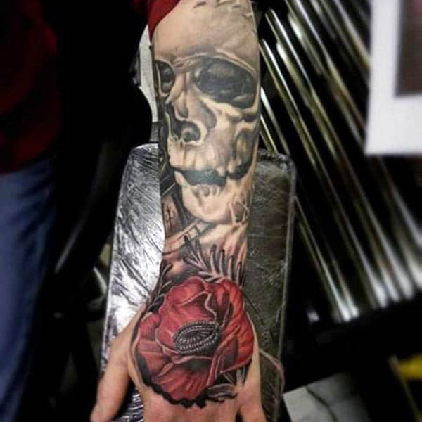 Forearm Mens Poppy Skull Tattoo Design Ideas