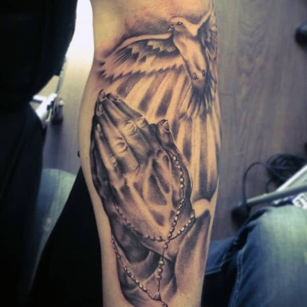 Forearm Mens Praying Hands Tattoo Designs