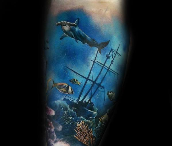 Forearm Mens Shipwreck Tattoo Design Inspiration