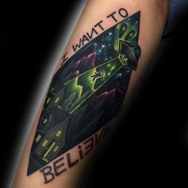 Forearm Mens Tattoo Ideas With I Want To Believe Design