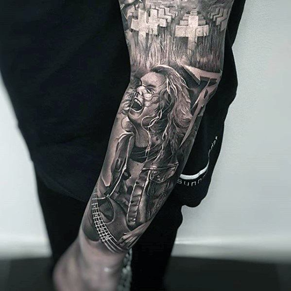 Forearm Metallica Tattoo Designs For Males