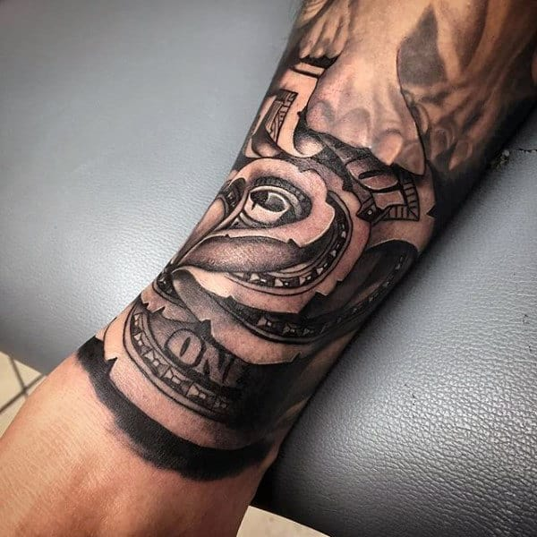 Forearm Money Rose Sleeve Tattoo On Male