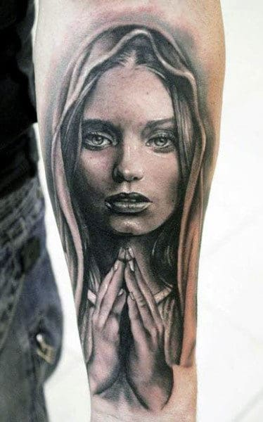 Forearm Mother Mary Mens Hands Praying Tattoo