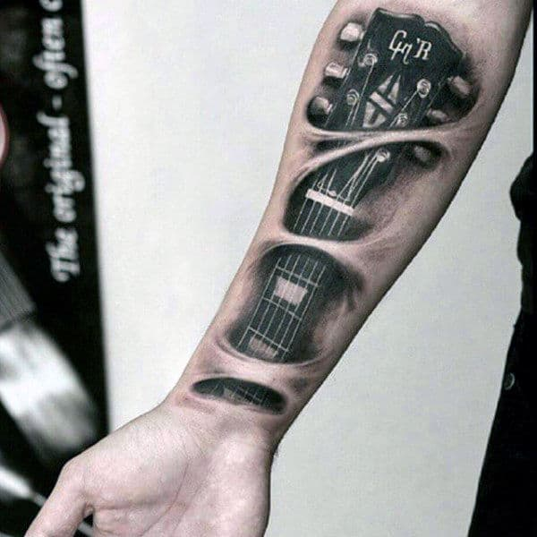 Forearm Music Strings Of Guitar Tattoos For Men