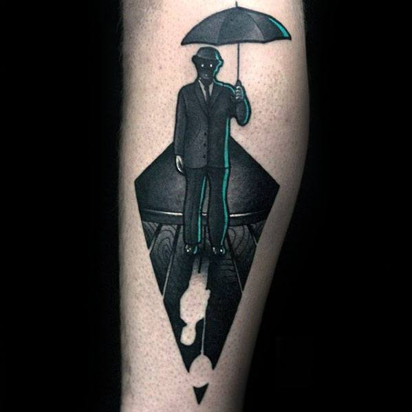 Forearm Negative Space Mens Umbrella Being Held By Man Wearing Suit Tattoo
