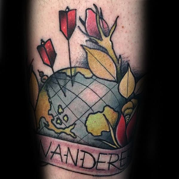 Forearm Neo Traditional Mens Wanderlust Globe Tattoo