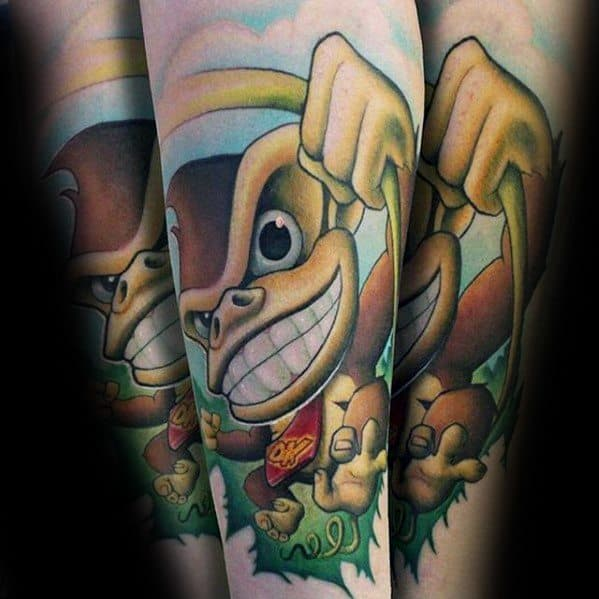 Forearm New School 3d Video Game Donkey Kong Male Tattoo Ideas