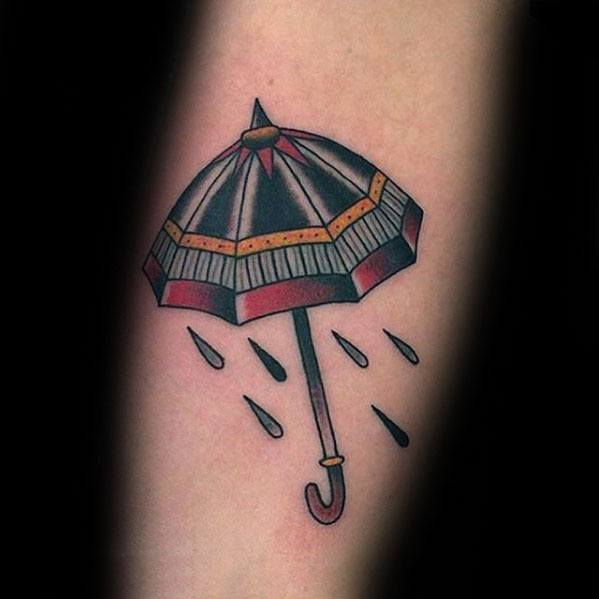 Forearm Old School Small Umbrella Guys Tattoo Designs