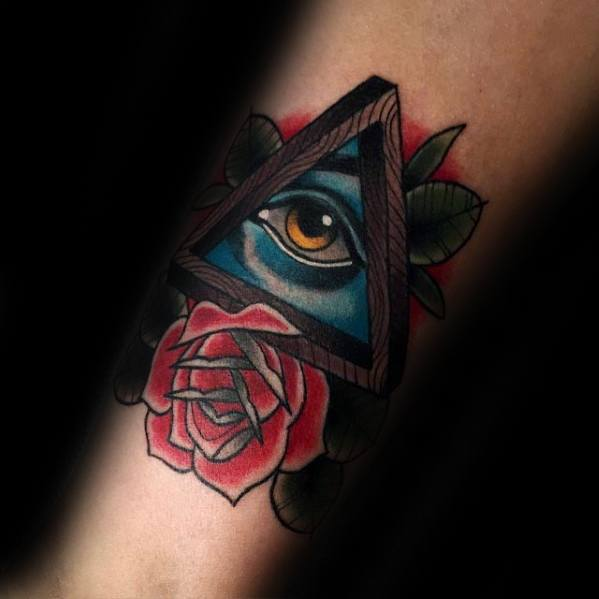 Forearm Old School Traditional All Seeing Eye Penrose Triangle Tattoo Design On Man