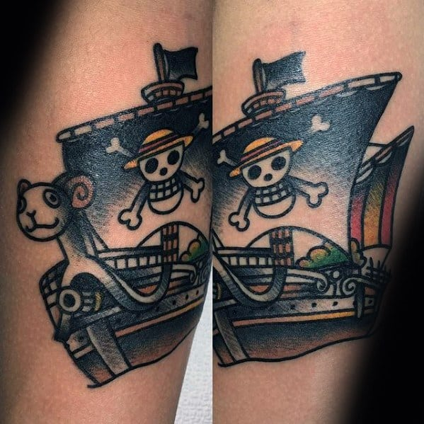 Forearm Old School Traditional Sailboat Male One Piece Tattoo