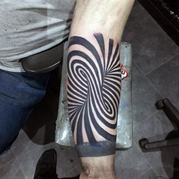 Forearm Optical Illusion Male Spiral Tattoo Design