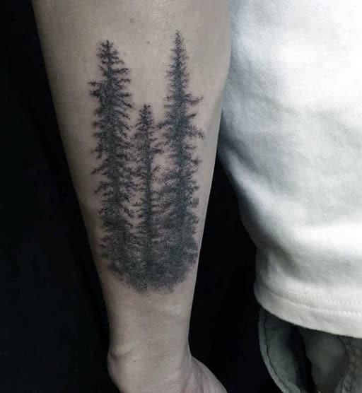 Forearm Pine Tree Tattoos For Men