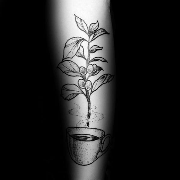 Forearm Plant With Coffee Cup Tattoos For Gentlemen