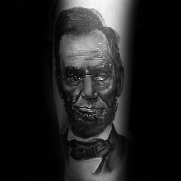 Forearm President Abraham Lincoln Male Forearm Tattoos
