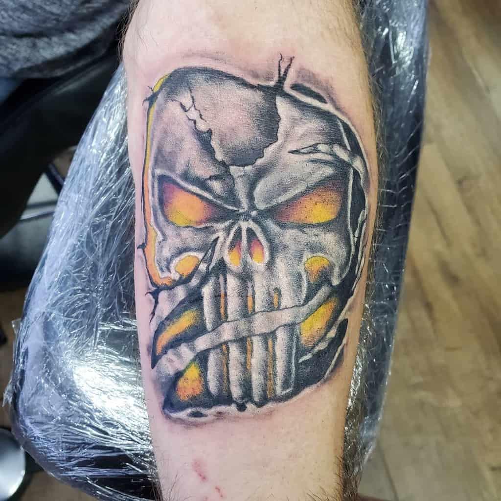 forearm punisher skull tattoo jonhamlett