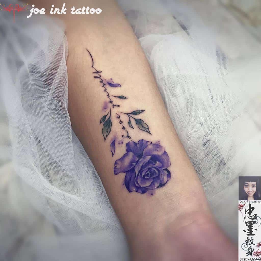 forearm purple rose tattoos betty0819fish